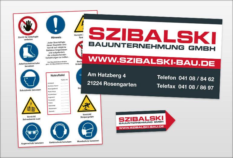 Werbegestaltung - Szibalski Bau Bauschild