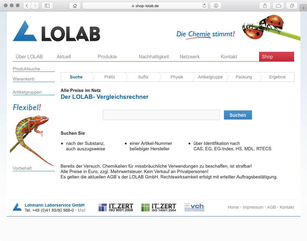 Webseite - Lolab Vergleichsrechner